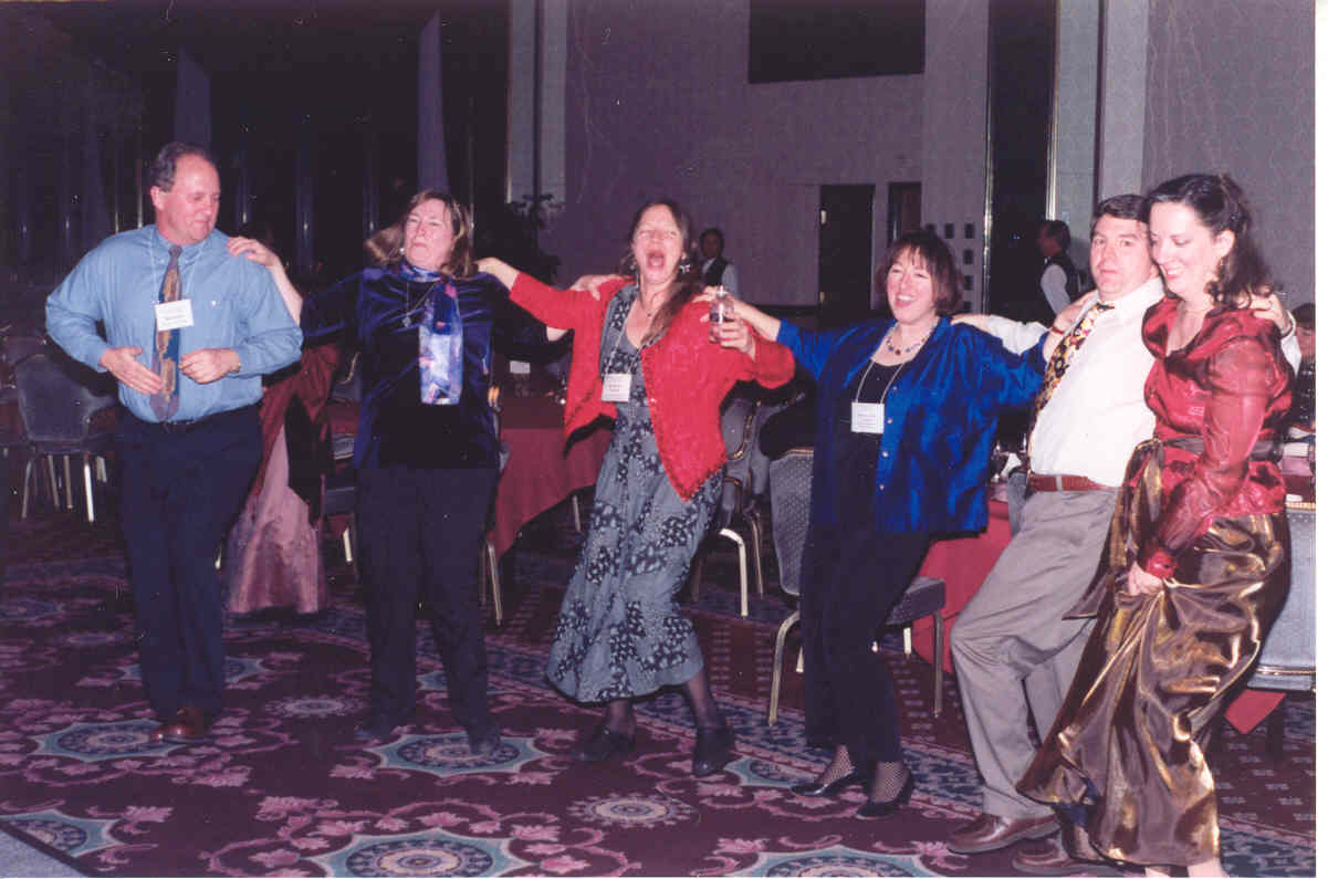 SEMLA chair Sarah Dorsey (center) gets funky at the 2002 MLA Meeting in Las Vegas